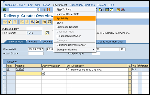 Availability Check – Delivery Processing